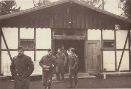 "<p>American soldiers finish their inspection of the <a href=""/narrative/4391/en"">Dachau</a> camp's first crematorium. Dachau, Germany, November 18, 1945.</p>"