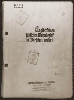 "<p>SS Major General Juergen Stroop, commander of German forces that suppressed the Warsaw ghetto uprising, compiled an album of photographs and other materials. This album, later known as ""The Stroop Report,"" was introduced as evidence at the International Military Tribunal at Nuremberg. Here, its cover is marked with an IMT evidence stamp.</p>"