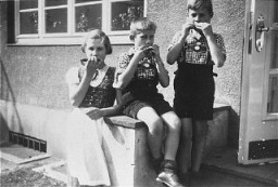 <p>Elisabeth, Hans Werner, and Paul Gerhard Kusserow. Because they were the children of Jehovah's Witnesses, all three were forcibly removed from school on March 7, 1939, and kept separated from their family, which was accused of spiritual and moral neglect, until their liberation in April 1945. This photograph was taken at the Kusserow home in Bad Lippspringe, 1936-1939.</p>