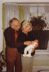 """<p><a href=""""/narrative/10265/en"""">Norman</a> and Amalie Salsitz with their first grandchild, Dustin. March 11, 1983.</p> <p><span style=""""font-weight: 400;"""">With the end of World War II and collapse of the Nazi regime, survivors of the Holocaust faced the daunting task of <a href=""""/narrative/10475/en"""">rebuilding their lives</a>. With little in the way of financial resources and few, if any, surviving family members, most eventually emigrated from Europe to start their lives again. Between 1945 and 1952, more than 80,000 Holocaust survivors immigrated to the United States. Norman was one of them. </span></p>"""