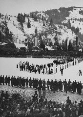 <p>Closing ceremonies of the 4th Winter Olympic Games. Garmisch-Partenkirchen, Germany, February 16, 1936.</p>