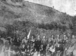 "<p>A group of Jewish <a href=""/narrative/5679/en"">partisans</a>, members of a unit of the Armée Juive (Jewish Army). France, wartime.</p>"