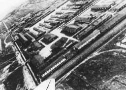 "<p>An aerial view of the <a href=""/narrative/6811"">Neuengamme</a> concentration camp. Germany, date uncertain.</p>"