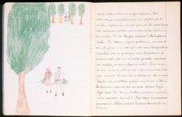 "<p>Illustrated page of a child's diary written in a Swiss refugee camp. The diary entry describes how they crossed the border into Switzerland. The text reads, ""We came out of the woods and into a clearing: we had to be as quiet as possible because we were so close to the border. Oh! I almost forgot! Before we came out of the woods, they made us stand still for a quarter of an hour while they went to explore the area and to cut through the fence. Fortunately, shortly thereafter, we began to walk again. We saw a small guard station that was literally in front of the hole in the fence, fortunately the guard was not there. One by one, silently, we went through the hole in the fence. What emotion! Finally, we were in free territory, in Switzerland."" Switzerland, 1943-1944.</p>"