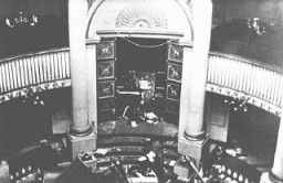 "<p>The holy ark in the sanctuary of the Seitenstetten Street synagogue, demolished during <a href=""/narrative/4063/en""><em>Kristallnacht</em> </a>(the ""Night of Broken Glass""). <a href=""/narrative/6000/en"">Vienna</a>, Austria, after November 9, 1938.</p>"