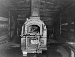 <p>Crematorium oven used in the Bergen-Belsen concentration camp. Photograph taken after the liberation of teh camp. Bergen-Belsen, Germany, April 28, 1945.</p>