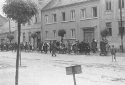 "<p>Scene during the deportation of Jews from Koszeg, <a href=""/narrative/6229/en"">Hungary</a>, 1944.</p>"