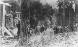 """<p>Execution of prisoners, most of them Jewish, in the forest near <a href=""""/narrative/3956/en"""">Buchenwald</a> concentration camp. Germany, 1942 or 1943.</p>"""