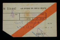 <p>Single-use entry pass for the trial of Adolf Eichmann in Jerusalem, Israel. June 8, 1961.</p>