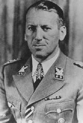 "<p>1943 photograph of SS General <a href=""/narrative/9855/en"">Ernst Kaltenbrunner</a>, who served as head of the Reich Security Main Office (RSHA) and as chief of Nazi Security Police (Sipo) and the Security Service (SD). </p>"