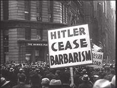 <p>The American Jewish Congress was among the first groups in the United States to oppose Nazism. It held a mass rally as early as March 1933, soon after Hitler rose to power in Germany, and continued to hold rallies throughout the war years. The American Jewish Congress organized this anti-Nazi march through Lower Manhattan. The event coincided with book burning in Germany.</p>
