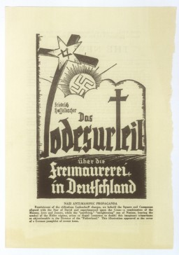 "<p>Illustration from cover of a German anti-Masonic pamphlet by Friedrich Haffelbacher, entitled ""Das Todesurteil ueber die Freimaurerei in Deutschland"" [The Death Sentence for Freemasons in Germany].</p>"