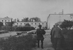 "<p>A member of the Zoska battalion of the Armia Krajowa escorts two of 348 Jews liberated from the Gęsiówka concentration camp during <a href=""/narrative/55299/en"">the Warsaw Polish uprising</a>. August 5, 1944.</p>"