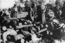 Stacked corpses of victims at Klooga