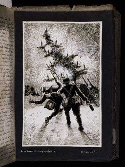 <p>Drawing entitled 'Christmas Apotheosis! Don't let them do it' in which a member of a Hungarian medical unit stands behind a wounded Hungarian soldier as Russian tanks are destroying a Christmas tree. [Photograph #58087]</p>