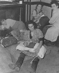 Femmes et enfants juifs ayant fui la Pologne dans le cadre de la Brihah (fuite massive des Juifs d'Europe orientale après-guerre), ...