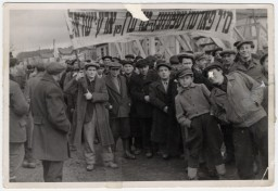 Men demonstrate in the Ziegenhain displaced persons camp