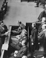 """<p>Defendant Inge Viermetz pleads not guilty at her arraignment during the RuSHA Trial, <a href=""""/narrative/9532"""">case #8</a>of the Subsequent Nuremberg Proceedings. October 10, 1947.</p>"""