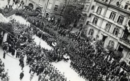 Aerial photograph of a Fascist rally in Merano, Italy.