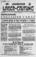 <p>Front page of a newspaper from Landsberg displaced persons camp. Germany, November 15, 1945.</p>