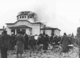 "<p>Local residents watch the burning of the ceremonial hall at the Jewish cemetery in Graz during Kristallnacht (the ""Night of Broken Glass""). Graz, Austria, November 9–10, 1938.</p>"