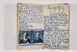 "<p>Page from the diary of Peter Feigl, a Jewish child hidden in the Protestant village of <a href=""/narrative/11043"">Le Chambon-sur-Lignon</a>. The photos show his parents, who perished in a concentration camp. The text is in French and German. Le Chambon-sur-Lignon, France, 1942-1943.</p>"