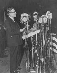 <p>Stephen S. Wise, later to become president of the World Jewish Congress, speaks at an anti-Nazi rally at Madison Square Garden. New York, United States, March 27, 1933.</p>