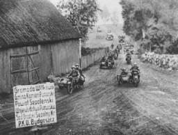 <p>Γερμανικά στρατεύματα εισβολής προσεγγίζουν το Bydgoszcz. Πολωνία, 18 Σεπτεμβρίου 1939.</p>