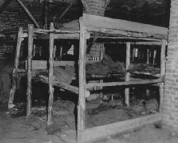 "<p>Sleeping quarters in <a href=""/narrative/7988/en"">Wöbbelin</a>, a subcamp of Neuengamme concentration camp. This photograph was taken upon the <a href=""/narrative/2317/en"">liberation</a> of the camp by US forces. Germany, May 5, 1945.</p>"