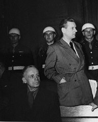 "<p><a href=""/narrative/9878/en"">Joachim von Ribbentrop</a> (left), former German Foreign Minister, and <a href=""/narrative/9908/en"">Baldur von Schirach</a> (right), former leader of the Hitler Youth, during a recess at the International Military Tribunal.</p>"