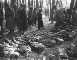 <p>A Hungarian Jewish youth identifies the body of his father, who was shot by the SS during a death march from Flossenbürg. Members of the US military prepare the victims' burial. Neunburg, Germany, April 25, 1945.</p>