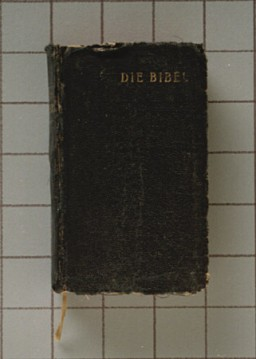 "<p><a href=""/narrative/11333/en"">Soviet forces liberated</a> the <a href=""/narrative/6810/en"">Sachsenhausen</a> concentration camp in April 1945. In the camp, Soviet soldiers found this German edition of the Old and New Testaments on a dead prisoner, a <a href=""/narrative/5070/en"">Jehovah's Witness</a>. The bible was sent to the prisoner's surviving family members.</p>"