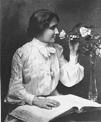 """<p>Portrait of <a href=""""/narrative/7687"""">Helen Keller</a>, ca. 1910.</p> <p>In 1933, Nazi students at more than 30 German universities pillaged libraries in search of books they considered to be """"un-German."""" Among the literary and political writings they threw intothe flames were the works of Helen Keller.</p>"""