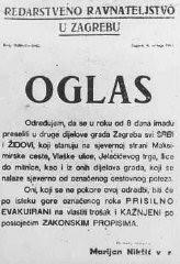 Ordre du gouvernement nationaliste croate des Oustachi aux Juifs et aux Serbes, les enjoignant de quitter certains quartiers de la ...