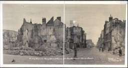 "<p>This 1919 photograph shows destruction in the leading business thoroughfare of Rheims after bombardment during <a href=""/narrative/28/en"">World War I</a>. Rheims, France, 1919.</p>"