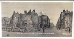 <p>1919-es fénykép az I. világháborús bombázások okozta pusztításról Reims legfontosabb kereskedelmi utcáján. Reims, Franciaország, 1919.</p>