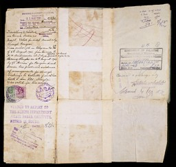 "<p>This page of a Polish citizenship certificate issued to Samuel Solc contains two visas. The first (left), stamped by the British Passport control in Shanghai, allowed Samuel to travel to Palestine via Burma, India, Egypt, and Rangoon. The second visa (right) bears the British Mandate ""Government of Palestine"" stamp, dated February 6, 1942, and allowed Samuel to remain in Palestine permanently. [From the USHMM special exhibition Flight and Rescue.]</p>"