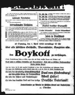 <p>Cette affiche de Munich, en Allemagne, annonce pour le 1er avril 1933 un boycott des commerces juifs et des services offerts par les professionnels juifs. Elle appelle tous les Allemands à respecter le boycott qui doit commencer à 10 heures du matin. L'affiche est signée par Julius Streicher, antisémite nazi radical, organisateur officiel du boycott.</p>