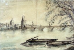 """<p>1943 painting of the Vltava River in Prague created from a photograph by Bedrich Fritta when he was imprisoned in <a href=""""/narrative/5386/en"""">Theresienstadt</a>. Fritta (1909-1945) was a Czech Jewish artist who created drawings and paintings depicting conditions in the Theresienstadt camp-ghetto. Fritta was deported to <a href=""""/narrative/3673/en"""">Auschwitz</a> in October 1944. He died there a week after his arrival.</p>"""