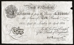 "<p>A counterfeit British bank note produced by Jewish forced laborers employed in Operation Bernhard at the <a href=""/narrative/6810/en"">Sachsenhausen</a> concentration camp. Under an order issued by SS chief Heinrich Himmler in 1942, Operation Bernhard initially aimed to produce large quantities of counterfeit British bank notes. The goal was to flood the British currency market and trigger a financial crisis.</p>"