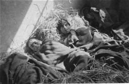 "<p>Survivors in a barracks at the <a href=""/narrative/7988/en"">Wöbbelin</a> concentration camp. Germany, May 4–5, 1945.</p>"