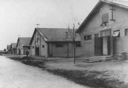 <p>View of buildings in the Sered concentration camp in Slovakia, 1941–44.</p>