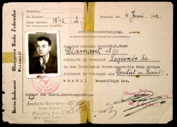 "<p>Dr. J. Rebhan, chair of the <a href=""/narrative/4696/en"">Jewish council</a> in Przemysl, Poland, signed this document certifying that Max Diamant had stable employment in the Jewish clinic. The certificate identifies Diamant as a dentist and is dated June 4, 1942.</p>
