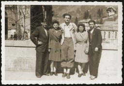 "<p>Salek Liwer (center) with friends at a Dror Zionist youth movement seminar in the <a href=""/narrative/53388/en"">Bad Gastein</a> displaced persons camp in Austria, 1946.</p>"