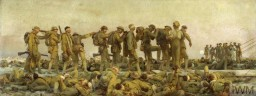 "<p><span style=""font-weight: 400;""><a href=""/narrative/28/en"">World War I</a> (1914–18) saw the first use of poison gas as a weapon of war. In this oil painting, John Singer Sargent depicted the aftermath of a mustard gas attack on British soldiers during a battle in August 1918. A line of soldiers, with bandaged eyes injured by the gas, hold on to one another as they are led to medical treatment. Around them are rows of other soldiers injured by the effects of the mustard gas, which could cause injuries such as burns and temporary blindness. © IWM (Art.IWM ART 1460)  </span></p>"