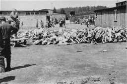 "<p>A pile of corpses at the Russian Camp (Hospital Camp) section of the <a href=""/narrative/3880/en"">Mauthausen</a> concentration camp after <a href=""/narrative/2317/en"">liberation</a>. Mauthausen, Austria, May 5-15, 1945.</p>"