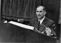 """<p>US prosecutor Robert Kempner during the Ministries Trial, <a href=""""/narrative/9569"""">case #11</a> of the Subsequent Nuremberg Proceedings.</p>"""