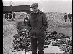 <p>British troops liberated the Bergen-Belsen concentration camp in Germany in April 1945. They filmed statements from members of their own forces. In this British military footage, British army chaplain T.J. Stretch recounts his impressions of the camp.</p>