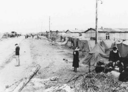 """<p>View of <a href=""""/narrative/4549"""">Bergen-Belse</a>n concentration camp after the liberation of the camp. Arow of small tents has been pitched outside the barracks. A group of survivors huddles in front of one of the tents.</p>"""