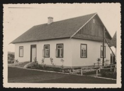 "<p><span style=""font-weight: 400;"">View of the old officers' dining room at <a href=""/narrative/3790"">Sobibor</a> (known as the ""Kasino""). This photograph was taken in the summer of 1943, after the building was renovated. The building served as a dining room for the Germans and as lodgings for the camp commanders. Deputy camp commandant Johann Niemann also lived there.</span></p>